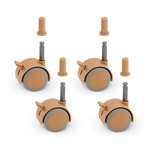 FabiMax Parkettrollensatz (4 Stück) mit Bremse für Kindermöbel, beige