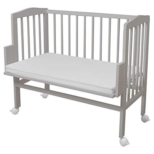 WALDIN Baby Beistellbett mit Matratze, höhen-verstellbar, Holz natur oder weiß lackiert