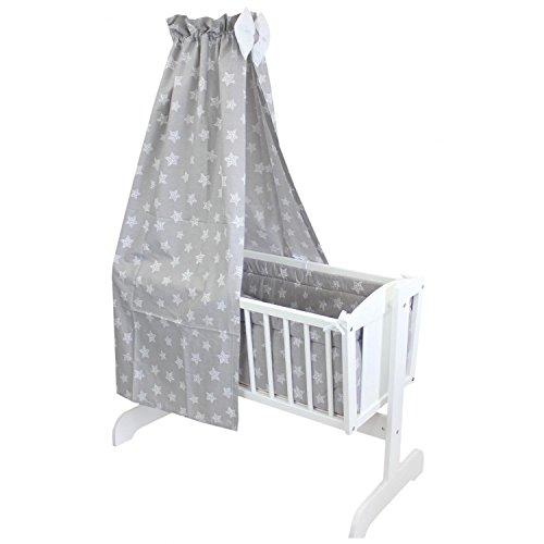 TupTam Unisex Baby Wiegen-Bettwäsche-Set 6-TLG, Farbe: Tupfen-Sterne Weiß/Grau, Anzahl der Teile:: 6 TLG. Set