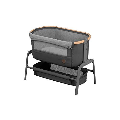 Maxi-Cosi Iora Beistellbett, hochwertiges, höhenverstellbares Babybett, nutzbar ab der Geburt bis max. 9 kg, Inkl. Matratze und Tasche, kompakt faltbar, passt neben fast jedes Bett, essential graphit