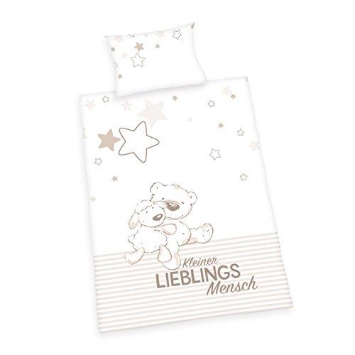 Herding Baby Best Kleinkinder-Bettwäsche-Set, Jana Lieblingsmensch Wendemotiv, Bettbezug 100 x 135 cm, Kopfkissenbezug 40 x 60 cm, Baumwolle/Renforcé