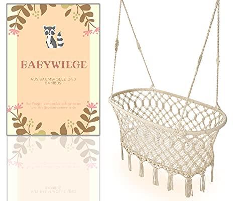 Federwiege Baby [HANDMADE] – Wiege Baby aus Bambus und Naturbaumwolle - Baby Hängematte im Makramee Stil – Babywiege hängend für Gestelle oder Decke - Baby Wiege Bett für einen ruhigen Schlaf (NATUR)