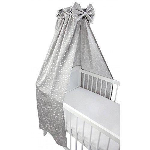 TupTam Babybett Himmel mit Schleifchen, Farbe: Sterne Grau 2, Größe: ca. 160x240 cm