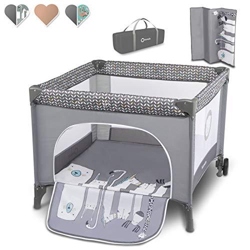 Lionelo Sofie Laufstall Laufstall Baby Baby Bett Reisebett Baby ab Geburt bis 15 kg Seiteneingang Lockguard System und Blockade der Räder Tragetasche zusammenklappbar (Grau)