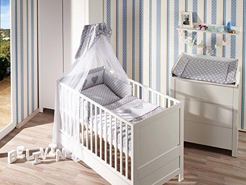 Belivin - Belivin® Baby & Juniorbett Milano inkl. Bettwäsche komplett Set - 140x70cm, 02 Kollektion silber Herzchen