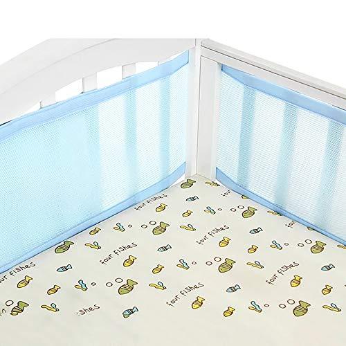 Kinderbett Leitplanke, Babybett Bettumrandung Babybett Nestchen 4-Seitiger, Atmungsaktiver Ladekantenschutz für das Babybett - Leicht zu Reinigen