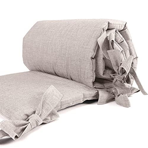 Sugarapple Baby Nestchen Bettumrandung dick gepolstert für Beistellbetten, Kopfschutz und Kantenschutz für babybeistellbetten, Bettnestchen Maße: 170 x 25 cm, Uni Beige