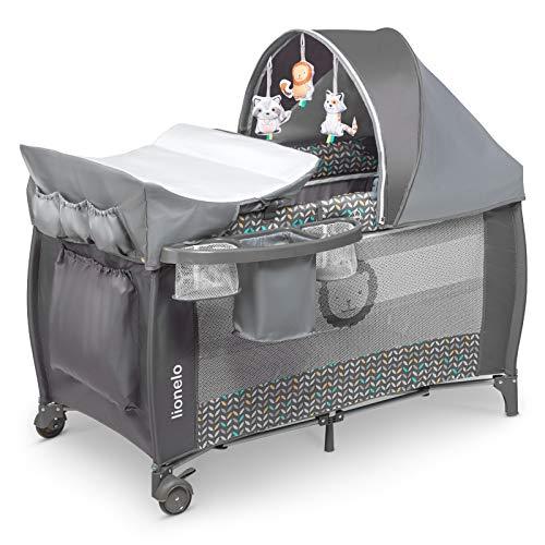 Lionelo Sven Plus 2 in 1 Baby Bett Laufstall Baby ab Geburt bis 15 kg Wickelauflage Moskitonetz luftige Seitenwände mit Seiteneingang Tragetasche zusammenklappbar (Grey Scandi)