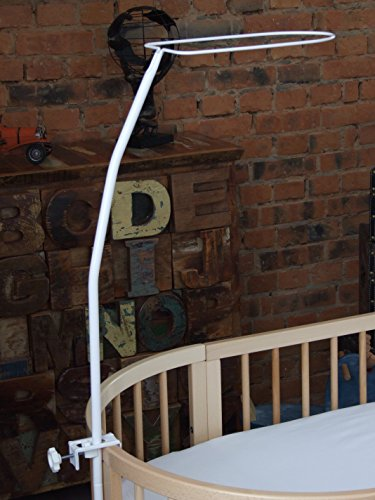ComfortBaby ® Babybett-Himmelstange/Himmelhalter mit Klemme - Länge: ca. 1,5 m (weiß)