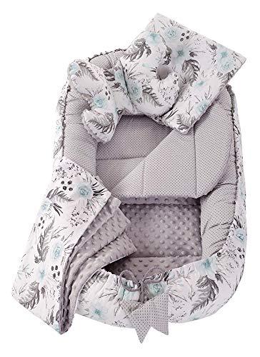 5 teilig Babynestchen Set Babynest 90x50 herausnehmbarer Einsatz Bett Kuschelnest Krabbeldecke Medi Partners für Babys Neugeborene 100% Baumwolle (Blument mit Grauen Minky)