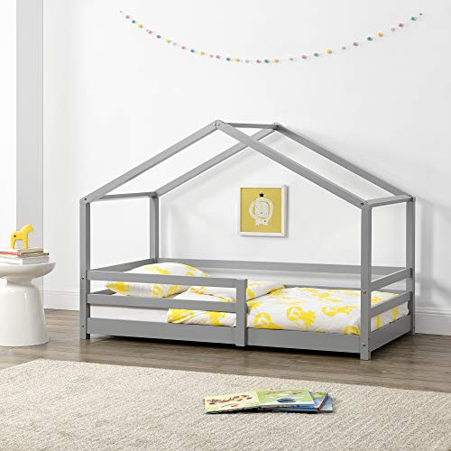 Kinderbett mit Rausfallschutz 90x200 cm Bettenhaus Hausbett Kiefernholz Hellgrau