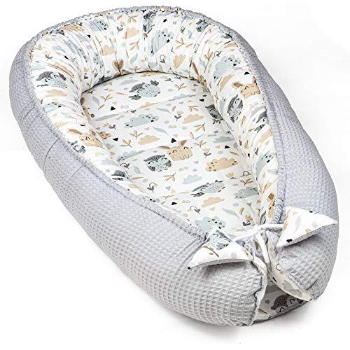 Babynest Neugeborene Nestchen Baby - Kokon Handmade zweiseitig aus Baumwolle mit Oeko-Tex Babynestchen (Grau Waffel Piqué und Hasen Muster, 90 x 50 cm)