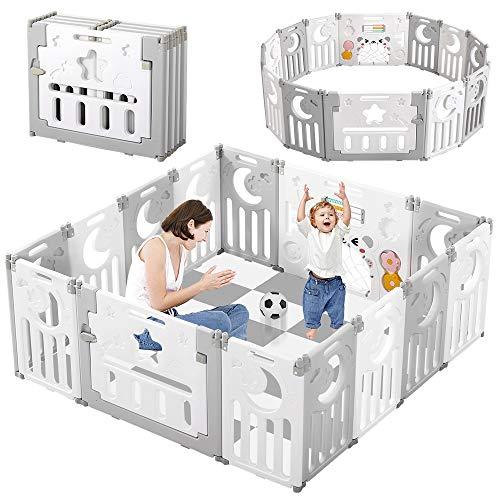Dripex Laufgitter Laufstall Baby Absperrgitter 14-Paneele Schutzgitter Krabbelgitter für Kinder aus Kunststoff mit Tür und Spielzeugboard