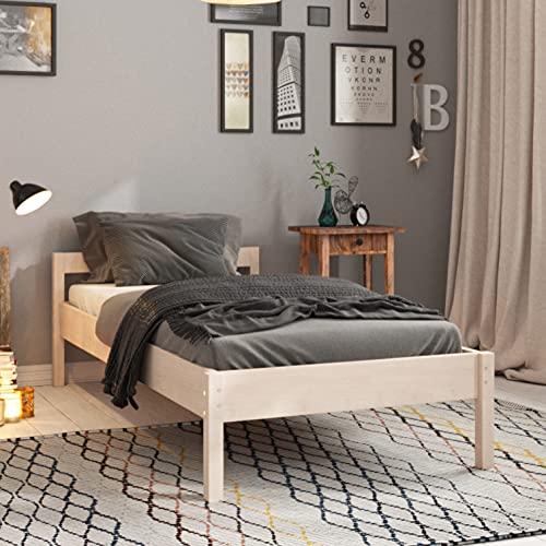 Holzbett 80x200 cm Kaja Scandi Style Scandi Style aus unbehandeltem hartem FSC Birken Massivholz - über 700 kg - Einzelbett Bettgestell mit Kopfteil - Kinderbett Jugendbett Gästebett
