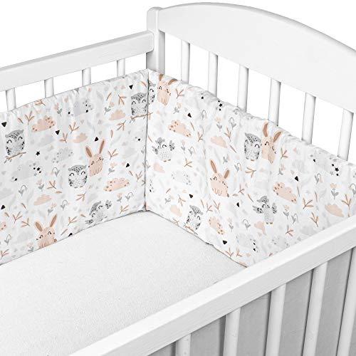 Bettumrandung Nestchen Babybett umrandungen - babybettumrandung Bettnestchen für Kinderbett Beistellbett Gitterbett umrandung (Eulen und graue Baumwolle, 180 x 30 cm)