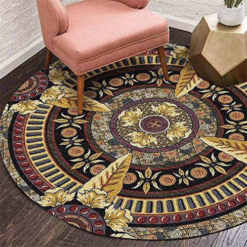 Nichtrutschmaschine Waschbarer Teppich für Wohnzimmer Schlafzimmer Teppich, Runder Vintage Boho Accent Teppich, moderner Mandala-Rande-Teppich, leicht zu reinigen-zu-Phi;: 200 cm (78,74 Zoll) MISU